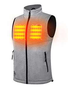 PTAHDUS Men's Lightweight Heated Vest with 7.4V Rechargeable Battery Pack (X-Large, Grey)