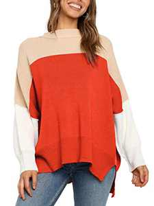 Boncasa Womens Sweater Casual Oversized Baggy Long Sleeve Turtleneck Pullover Chunky Knit Sweaters Orange 24B2C-juse-S