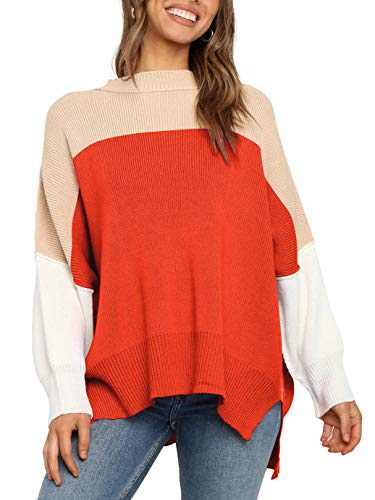 Boncasa Womens Sweater Casual Oversized Baggy Long Sleeve Turtleneck Pullover Chunky Knit Sweaters Orange 24B2C-juse-XL