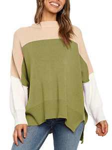 Boncasa Women's Oversized Batwing Pullover Colorblock Lightweight Long Sleeve Loose Turtleneck Sweater Green 24B2C-anlv-XL