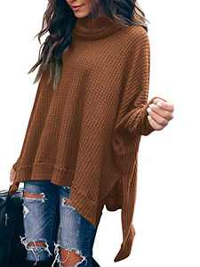 Boncasa Women Turtleneck Oversized Waffle Knit Batwing Sleeve Loose High Low Hem Side Slit Pullover Sweater Caramel B8C3-jiaotang-XL