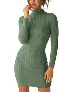 Margrine Women's Slim Fit Knit Long Sleeve Mock Neck Sweater Dress Gray Green M2A29-huilv-L