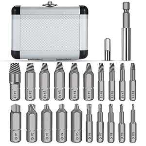 Jellas 22PCS Damaged Screw Extractor, Screw Remover with 64-65 HRC Hardness, Separate Burnishing and Magnetic Extension Bit Holder for Damaged Screws or Bolts 2-12mm SE22