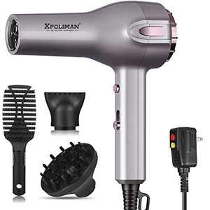 Professional Hair Dryer, Xpoliman Negative Ion Blow Dryer 2 Speed and 3 Heat Setting,Faster Dry with Diffuser & Concentrator, Styling Comb, AC Motor, Light Weight Low Noise-Grey & Rose Gold