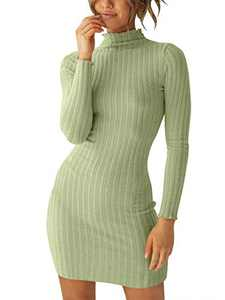 Margrine Womens Mock Neck Long Sleeve Elasticity Chunky Knit Pullover Sweaters Jumper Green M2A29-doulv-L