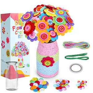 Lamly Zone Flower Craft Kit for Kids , Fun DIY Activity for Children Flower Bouquet with Colorful Button & Felt Flowers and Flower Vase Arts Toy and Crafts Project for Girls Christmas Birthday Gift