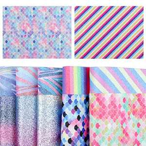 Color Glitter Sequins Faux Leather Fabric Sheets, 12 PCS Jewelry Making Kit for Hair Bows Making, Earrings Making and DIY Craft Making Supplies(6.3''x8.3'' / 16 x 21cm)