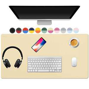 """TOWWI Dual Sided Desk Pad, 32"""" x 16"""" PU Leather Desk Mat, Waterproof Desk Blotter Protector Mouse Pad (Light Yellow/Rose Red)"""