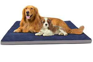 Large Dog Bed Jumbo Pet Beds Crate Pad Soft Dog Mats for Sleeping Washable Anti Slip Mattress with Removable Cover Blue, XL
