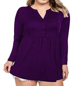 Women's Plus Size Button Down Shirts Notch Henley V Neck Long Sleeve Pleated Flowy Blouses Casual Tunic Tops (Purple, 3X-Large)