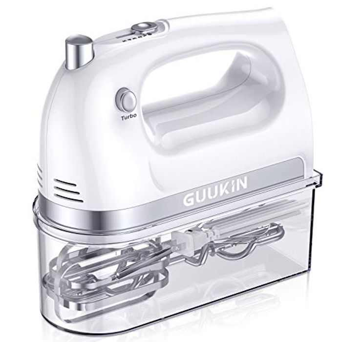 GUUKIN Hand Mixer Electric, 300W Multi-Speed Handheld Mixers with Turbo Button, Easy Eject Button and 5 Attachments (Beaters, Dough Hooks, and Whisk)