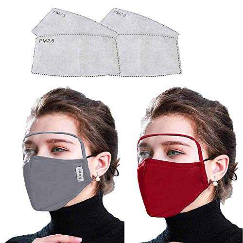 2 Pcs Cotton Face Cover with 4 pcs Actived Carbon Filter, Washable & Reusable with Adjustable Earband(Gray Red)