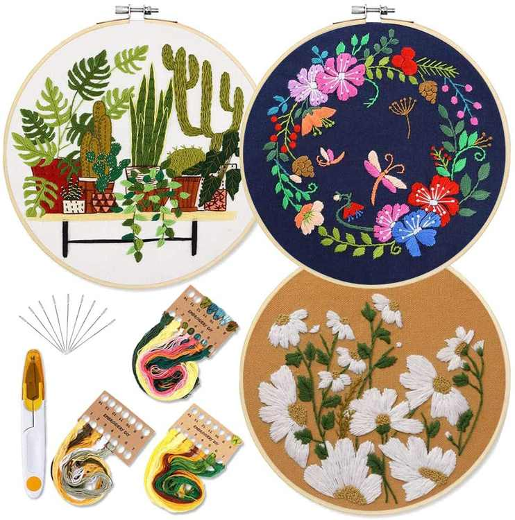 Millionhome 3 Sets Embroidery Starter Kit for Adults with Pattern and Instruction Full Range of Embroidery Kits for Beginners