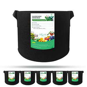 chicrechery 5-Pack 5 Gallon Grow Bags, Thickened Nonwoven Potato Grow Bags, Grow Bag with Handles, Plant Growing Bag Vegetable/Flower/Plant Container Indoor Outdoor
