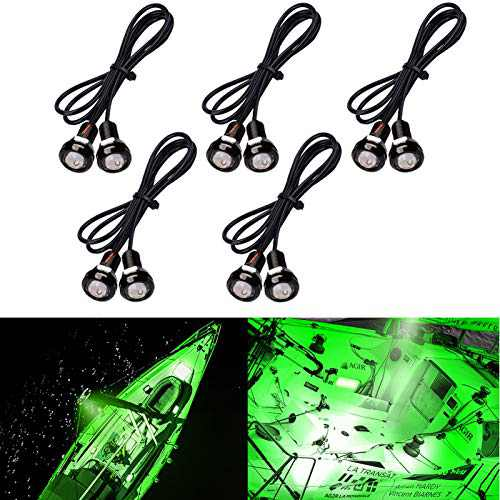 HONG 111 Marine Boat Lights, Utility Led Interior Lights for Boat Deck Courtesy Cockpit Decoration Light, 12V Waterproof Boat Navigation Lights for Bow and Stern, Kayak Lighting (10Pcs)(Green)