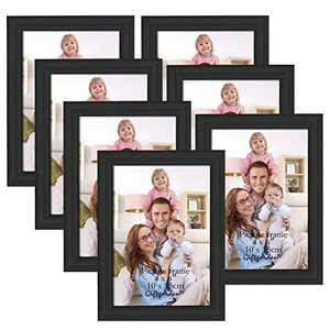 Giftgarden 4x6 Picture Frames Real Glass Black Frames for Tabletop or Wall Mounting Display, 7 Pack
