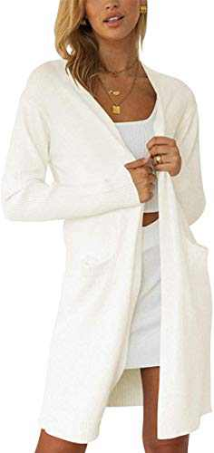 Boncasa Womens Long Sleeve Open Front Chunky Cardigan Sweater Draped Lightweight Knitted Coat with Pockets White 2BC32-baise-L
