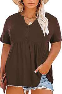 YASAKO Women's Plus Size Blouses Henley V Neck Button Tunic Tops Short Sleeve Swing Flowy Shirts (Brown, 4X-Large)