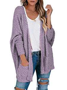 Boncasa Womens Chunky Popcorn Cardigan Oversized Open Front Boyfriend Batwing Long Sleeve Knit Sweaters Purple 2BC30-zise-S