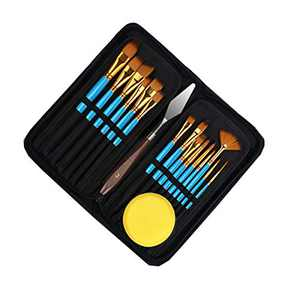 Artist Paint Brush Set - 15 Different Sizes Paint Brushes for Acrylic Watercolor Oil Gouache Paint for Artists, Adults & Kids - Free Painting Knife and Watercolor Sponge