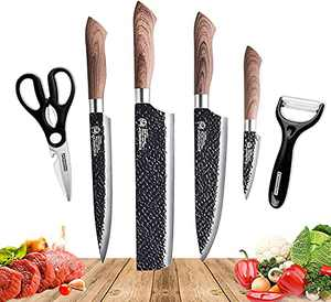 Fancy Petty 6 Pcs Stainless Steel Kitchen Knife Set Professional Chef Knife Set with Gift Box Sharp Knife Set with Peeler and Scissor for Cooking Paring Cutting