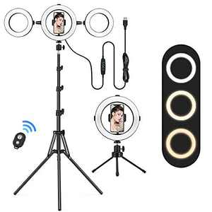 """Lofter 8"""" Ring Light with 2 Tripod Stand, 6"""" Selfie Light Ring x 2, 3 Color Modes Dimmable Selfie Light, 3200K-6500K Circle LED Lighting with 3 Phone Holder Extendable for YouTube, TikTok, Makeup"""