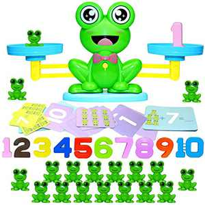 HAPTIME Cool Math Counting Balance Toy, Frog Kindergarten Educational Number Counting Toy, Fun Preschool Todddlers STEM Learning Tool Game Toy for Boys Girls Gift Age 3+