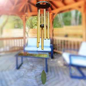 """Epartswide Wind Chimes for Outside,38"""" Memorial Wind Chimes Large Wind Chime Deep Tone with 6 Tuned Tubes Soothing Melodic Tones Sympathy Gifts for Mom Garden Home Hanging Decor (Gold)"""