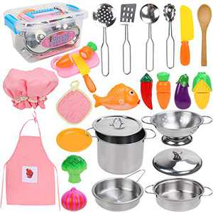 Jree Ash Pretend Play Toy Kitchen Accessories Pots and Pans Kids Kitchen Playset,Play Cooking Set for Toddlers Boys and Girls