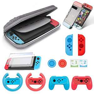 Accessories Kit Bundle for Nintendo Switch, 1x carry case,2x Grips kit,2x Steering Wheel,1x crystal case for switch,2x Case for Joy-Con,2x Thumbstick Caps,1x Glass screen protector