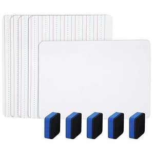 5 Pack Dry Erase Lapboard - Double Sided Mini Lapboards Portable Learning Board White/Ruled Writeboards with 5 Erasers (9inch x 12inch), Back to School Gift for Kids