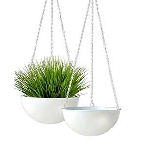 ABETREE Hanging Planter for Indoor and Outdoor Plants with Hooks 10 inch Metal Boho Modern Minimalist Flower Pots Hangers Basket for Balcony Ceiling Home Decor Set of 2 White