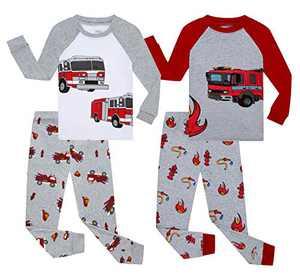 Benaive Pajamas for Boys, Pjs for Boy Cotton Pajama, 4-Piece Children Pants Set (Firetruck, Multicolor, 4T)
