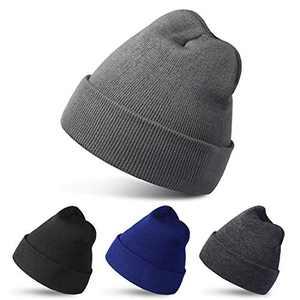 RUN BRAIN GO 4 Pack Beanies Winter Hats Warm Knitted Cap for Men & Women (Black/Light Gray/Dark Gray/Dark Blue)