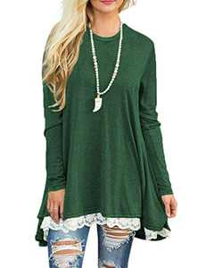 Womens Irregular Lace Hem Long Sleeve Loose Tunic Tops Flowy Blouses Shirt Green S