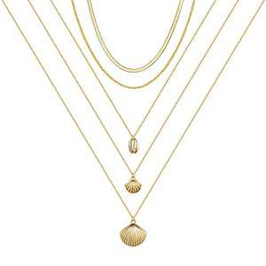 IEFSHINY Shell Necklace, 14K Gold Plated Layered Shell Choker Necklaces for Women Layering Cowire Puka Surfer Natural Shell Necklace Ocean Jewelry Beach Jewelry