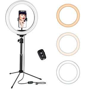 10'' Ring Light with Tripod Stand & Phone Holder, Desktop LED Selfie Light for Live Stream, YouTube Video, Photography, Makeup, Compatible with iPhone Android (Adjustable Height 15.35''- 25.39'')