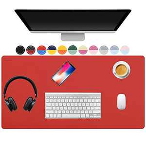 """TOWWI Dual Sided Desk Pad, 32"""" x 16"""" PU Leather Desk Mat, Waterproof Desk Blotter Protector Mouse Pad (Red/Blue)"""