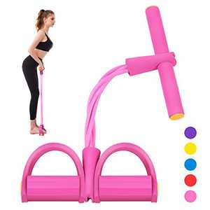 Segorts Pedal Resistance Band Super Light 4-Tube Yoga Strap Elastic Pull Rope Fitness Equipment for Sit-up Bodybuilding Expander Abdomen Workout (Pink)