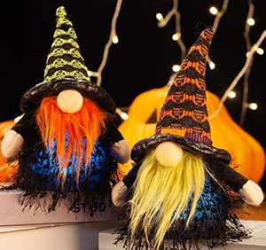 XAMSHOR Handmade Halloween Gnomes with Colorful Timing Light Witch Gnome Plush Tomte Scandinavian for Home Table Decorations Gift Set of 2