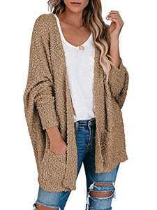 Boncasa Womens Chunky Popcorn Cardigan Oversized Open Front Boyfriend Batwing Long Sleeve Fuzzy Knit Sweaters Coffee 2BC30-kafei-M