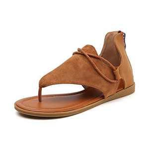Tilocow Posh Gladiator Sandals For Women Comfort Cognac Tan Flat Sandals Summer Shoes Vintage Flip Flops