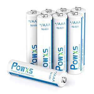 POWXS AAA Rechargeable Batteries 800mAh 8 pack With Cases Pre-Charged 1.2 Volt Ni-MH AAA Batteries