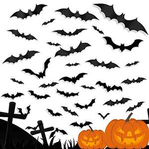 PETPAWJOY Halloween Decoration Bats Wall Decor, 3D Bats Wall Decor Stickers 4 Size PVC Waterproof Spooky Bats for Halloween Eve Party Supplies,28PCS Black