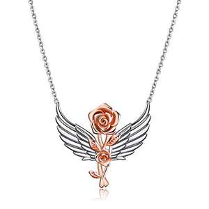 LUHE Sterling Silver Rose Flower, Heartbeat, Double Hearts, Celtic Necklace for Mom Girlfriend Wife Sisters (Angel Wing Rose Necklace)