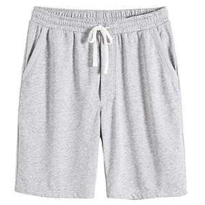 VANCOOG Men's Casual Cotton Knit Short Drawstring Elastic Yoga Gym Shorts-Light Grey-M