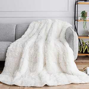 "Uttermara Shaggy Faux Fur Weighted Blanket 15lbs, Super Soft Plush Fleece and Cozy Sherpa Reverse, Decorative Long Fur Throw Blankets 48""x72"" Cream"