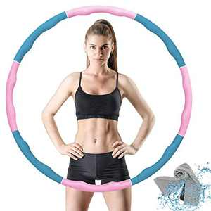 VANBAR Exercise Hoop for Adults, Weighted Fitness Hoop for Exercise 8 Section Portable Soft Adjustable Sport Weighted Hoop for Women Lose Weight, Workout