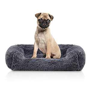 Neekor Rectangle Plush Bolster Pet Bed, Fluffy Calming Crate Cage Mat, Orthopedic Memory Foam Luxury Shag Fuax Fur Anti-Anxiety Dog Bed Cuddler Cushion Pad for Cats & Dogs (27.5''x19.6'', Dark Grey)