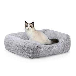 Neekor Rectangle Plush Bolster Pet Bed, Fluffy Calming Crate Cage Mat, Orthopedic Memory Foam Luxury Shag Fuax Fur Anti-Anxiety Dog Bed Cuddler Cushion Pad for Cats & Dogs (23.6''x19.6'', Light Grey)